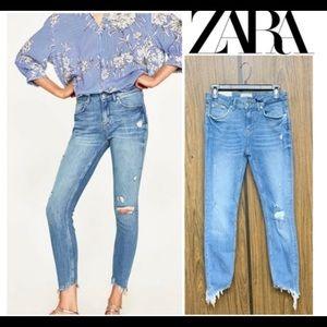 ZARA the skinny slim mid rise jeans Raw Hem Jeans